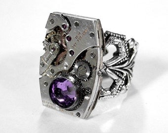 Steampunk Jewelry Ring Vintage Jeweled Rectangular Watch Adjustable Silver Lilac Crystal Mothers Day Anniversary - Jewelry by edmdesigns