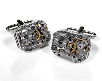 Steampunk Jewelry Cufflinks RUSSIAN Pinstripe Jewel Watch Cuff Links Wedding Anniversary Groom, Fiancee Cufflinks - Jewelry by edmdesigns