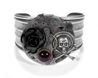 Steampunk Jewelry Cuff Watch Parts Silver Adjustable Bracelet GRUNGED Gears Black Rose Skull Bone Garnet Burning Man Cuff - by edmdesigns