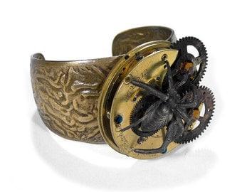 Steampunk Jewelry Cuff Pocket Watch SPIDER GEARS Topaz Crystals Brass Industrial Steam Punk, Apocalyptic Burning Man - Jewelry by edmdesigns