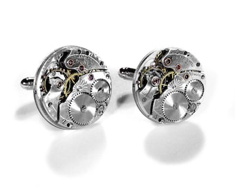 WALTHAM Mens Cufflinks Steampunk Vintage Round Silver Jeweled Cuff Links Wedding Anniversary Groomsmen Father's Day - Jewelry by edmdesigns