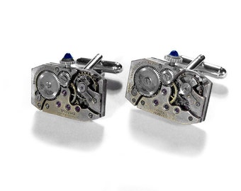 Steampunk Cufflinks Jeweled Rectangular Watch Cuff Links Movements ART DECO Sapphire Cabochons Groomsmen - Steampunk Jewelry by edmdesigns