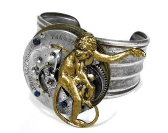 Steampunk Jewelry Cuff Bracelet Silver Elgin Pocket Watch Etching Parts BRASS MONKEY Steam Punk Cuff Men Women Cuff - Jewelry by edmdesigns