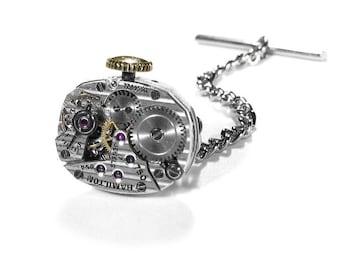 Steampunk Tie Tack HAMILTON PINSTRIPED Watch Mechanism Mens Tie Pin Stemmed Wedding Groom Anniversary - Steampunk Jewelry by edmdesigns