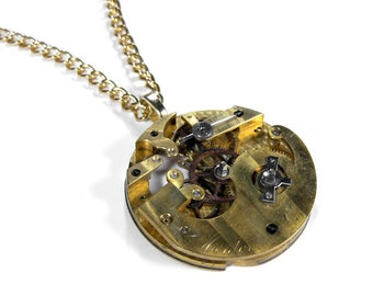 Steampunk Jewelry Necklace GOLD SKELETAL Pinstripe RARE Hefty Pocket Watch Mens Womens Anniversary Gift - Steampunk Jewelry by edmdesigns