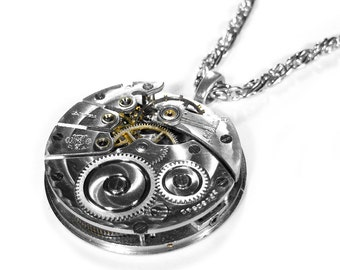 Steampunk Jewelry Necklace NY STANDARD Silver Guilloche Etched Pocket Watch For Men or Women, UNISEX Valentine Gift  - Jewelry by edmdesigns