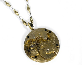 Steampunk Jewelry Necklace Gold ELGIN Pocket Watch Victorian Steam Punk Weddings Mom Mother's Day Gift - Steampunk Jewelry by edmdesigns