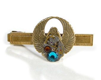 Steampunk Jewelry, Tie Bar Mens Vintage Brass Phoenix Rising SCARAB WINGS Turq Topaz Crystals Fathers Day - Steampunk Jewelry by edmdesigns