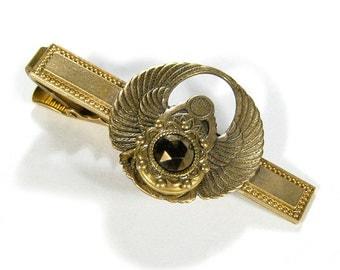Mens Tie Bar - Mens Clip Brass  Phoenix WINGS LOCKET Topaz Crystal Steampunk Jewelry, Wedding Anniversary Groom Gift - Jewelry by edmdesigns