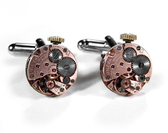 OMEGA Rose Gold Cufflinks Steampunk Mens OMEGA Cuff Links Wedding Groom Anniversary Fathers Day Fiancee Cufflinks - Jewelry by edmdesigns