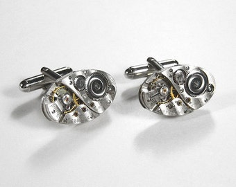 Mens Watch Cufflinks Vintage ELGIN PINSTRIPE Oval Cuff Links Weddings Anniversary Groom Fathers, Fiancee Cufflinks - Jewelry  by edmdesigns