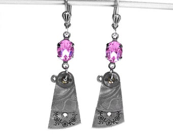 Steampunk Jewelry Earrings Watch Parts Silver Dangle ROSE Crystal Wedding October Birthstone, Bridal Bridesmaid Gift - Jewelry by edmdesigns