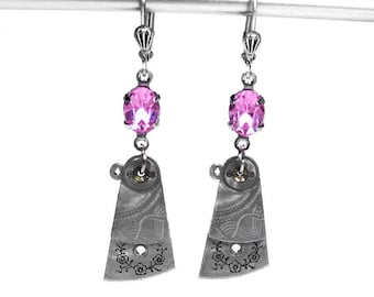 Steampunk Jewelry Earrings Watch Parts Silver Dangle ROSE Crystal Wedding October Birthstone, Bridal Girlfriend Gift - Jewelry by edmdesigns