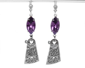 Steampunk Jewelry Earrings Vintage Floral ETCHED Dangle Watch Part AMETHYST Crystal Anniversary Girlfriend - Steampunk Jewelry by edmdesigns