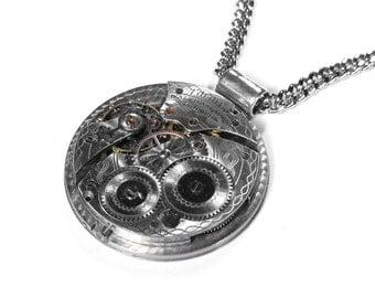 Steampunk Jewelry Necklace Vintage WALTHAM Pocket Watch Wedding Anniversary Mens Steam Punk GORGEOUS Mens Women Gift - Jewelry by edmdesigns