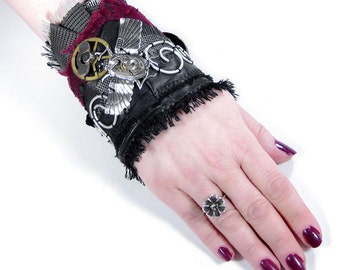 Steampunk Cuff Wrist Cuff Black Leather Red Velvet Silver WiNG SCARAB Waltham Watch Gears Steam Punk Cuff - Steampunk Clothing by edmdesigns