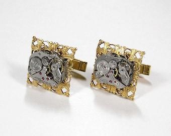 Steampunk Jewelry, Mens Watch Cufflinks ORNATE Gold Filigree SILVER Watch Cuff Links, Wedding Groom Fathers Day Gift - Jewelry by edmdesigns