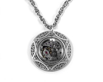 Steampunk Jewelry Necklace Vintage Round Watch Silver CELTIC Jewelry, Anniversary Mens Or Womens GORGEOUS - Steampunk Jewelry by edmdesigns