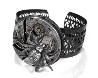 Steampunk Cuff Vintage NIHILIST Watch Collage Adjustable Jewelry Cuff Bracelet Dimensional SPIDER Gear ROCKER PuNK - Steampunk by edmdesigns