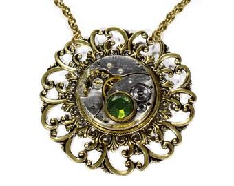 Steampunk Jewelry Necklace Vintage ELGIN Pocket Watch Gold Steam Punk Peridot Crystal Womens Anniversary Wedding - Steampunk by edmdesigns