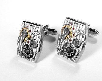HAMILTON Pinstripe Mens Cufflinks LUXURY Ruby Watch Cuff Links Wedding Groom Anniversary Cufflinks Fiancee Cufflinks - Jewelry by edmdesigns