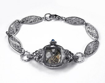 Steampunk Bracelet BULOVA Watch Sterling Silver Case Bracelet DIAMOND Sapphire Accent Wedding Womens Holiday Gift - Jewelry by edmdesigns