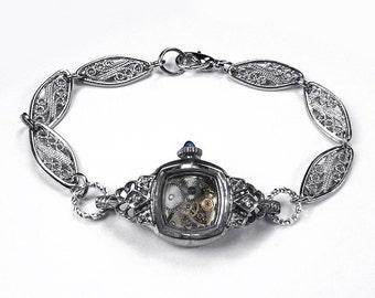 Steampunk Jewelry Bracelet BULOVA Watch Silver Case DIAMOND or Rhinestone Cuts, Sapphire Stem, Wedding, Bridal, Holiday Gift - by edmdesigns
