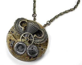 Steampunk Jewelry Necklace Vintage GRUNGE Mens Pocket Watch Bold Gears WW2 Paratrooper Air Ship, UNISEX, Burning Man - Jewelry by edmdesigns