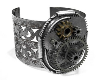 Steampunk Jewelry Cuff Vintage Metal GEAR WHEELS Wide Bracelet Steam Punk NIHILIST Burning Man Punk Rocker Cuff - Steampunk by edmdesigns