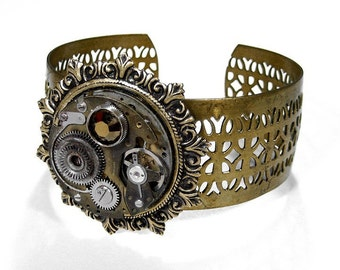 Steampunk Jewelry Steampunk Cuff Bracelet Brass INDUSTRIAL GRUNGE P/Watch Burning Man, Punk Rocker Cuff AWESOME Gift - Jewelry by edmdesigns