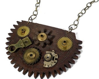 Steampunk Jewelry Necklace Vintage BOLD Wood GEAR Watch Parts Brass Cogs, Gears Burning Man Unisex So COOL - Steampunk Jewelry by edmdesigns