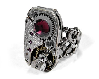 Steampunk Ring Vintage Mens Ruby Jeweled Watch Movement Adjustable Ring Oxblood Maroon Swarovski SO COOL - Steampunk Jewelry by edmdesigns