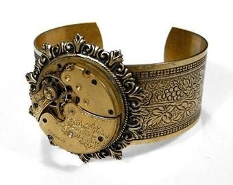 Steampunk Jewelry Steampunk Victorian Cuff Bracelet Golden Pocket Watch Bracelet Womens Wedding Anniversary STUNNING - Jewelry by edmdesigns