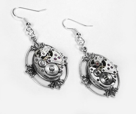 Steampunk Earrings - Vintage SWISS Ruby Jeweled Watch Movement Earrings Ear Wires SILVER LOTUS LEAF SETTING - edmdesigns EXCLUSIVE DESIGN