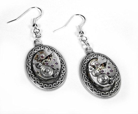 Steampunk Jewelry Earrings Vintage RUBY Jeweled Watch Movement Earrings Ornate Dangles Wedding Aniversary - Steampunk Jewelry by edmdesigns