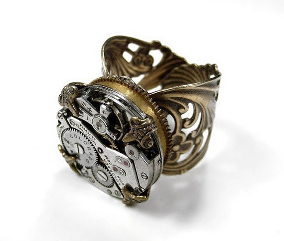 Steampunk Jewelry Mens Womens Ring Vintage Watch Movement High BARREL SPRING Brass Wing Ring Steam Punk - Steampunk Jewelry by edmdesigns