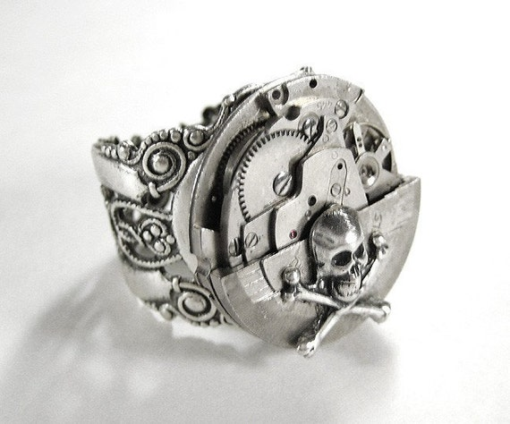 Steampunk Jewelry Mens Ring Vintage Silver Watch Swivel Ring SKULL BONES Steam Punk Fathers Day Mens Gift -  Steampunk Jewelry by edmdesigns
