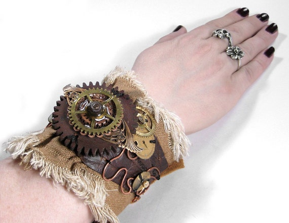 Steampunk Cuff - BROWN LEATHER Textile Mixed Media Wrist Cuff - BRASS WINGS - Vintage Brass Rosette - ANTIQUE WOOD CUCKOO CLOCK GEAR - RADICAL Adjustable UNISEX DESIGN - Exclusive WEARABLE ART by edmdesigns and 1/2 Street Studios