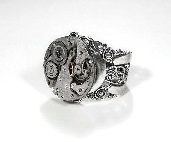 Steampunk Ring Mens Vintage Jeweled Watch Ring SOLDERED Featured On WIRED BOING BOiNG and More - Steampunk Jewelry by edmdesigns