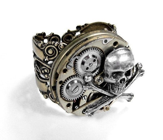 Steampunk Ring Vintage Segmented Watch Movement Gear Mens Jewelry BIKER ROCKER Ring Skull Bones Steam Punk Wedding - Steampunk by edmdesigns