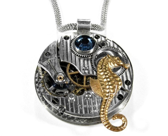 steampunk necklace vintage pinstripe pocket watch necklace seahorse gorgeous Swarovski blue crystal - Steampunk Jewelry by edmdesigns