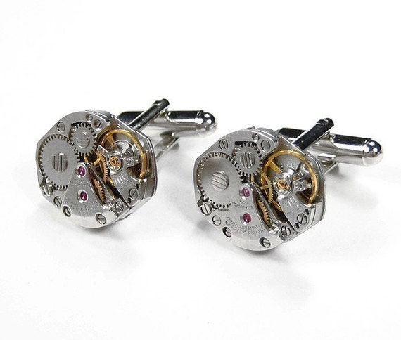 Steampunk Cufflinks Vintage Jeweled Watch Movements SOLDERED Wedding Anniversary Business Gift EXQUSITE - Steampunk Jewelry by edmdesigns
