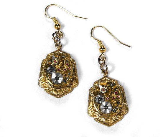 Steampunk Jewelry Earrings Vintage Gold Earrings Jeweled Watch FLORAL Weddings Bridal Anniversary Mothers Day Gift - Steampunk by edmdesigns