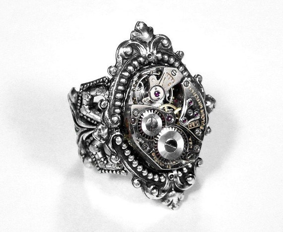 Steampunk Ring - Neo Victorian Inspired Vintage Ruby Jeweled Watch Movement on Adjustable Silver Filigree Ring - Victorian Style Ornate Renaissance Motif Silver Setting - EXQUISITE VICTORIAN LOOK....Offered by edmdesigns