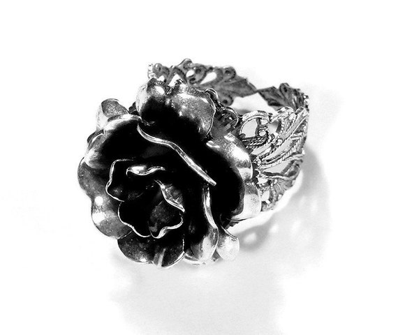 Steampunk Ring Jewelry by edmdesigns - Vintage Barrel Spring ROSE Flower Ring on Silver Filigree Base Featured in WOLFRAM Fashion Magazine