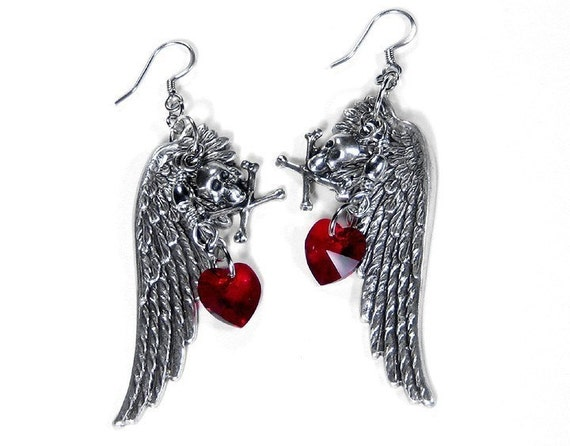 Wing Earrings, Steampunk Jewelry Earrings Silver Wings GOTHIC Style SKULLS Red Heart Crystal Steam Punk Holiday Gift - Jewelry by edmdesigns