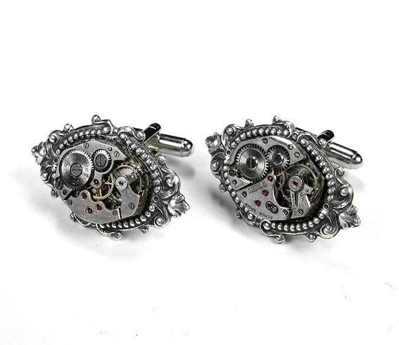 Mens Cufflinks Vintage Watch Mens Cuff Links, Steampunk Jewelry, Wedding Anniversary Groom Fathers Day Gift GORGEOUS - Jewelry by edmdesigns