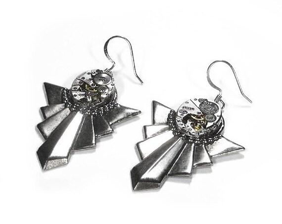 Steampunk Jewelry Earrings Vintage Ruby Jewel Watch Silver ART DECO Steam Punk Womens Wedding Anniversary - Steampunk Jewelry by edmdesigns