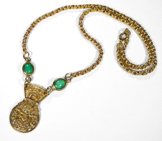 RESERVED For V....Steampunk Jewelry Necklace 1770's Carved Gold Pocket Watch Balance Cock JADE Wedding Anniversary - Steampunk by edmdesigns