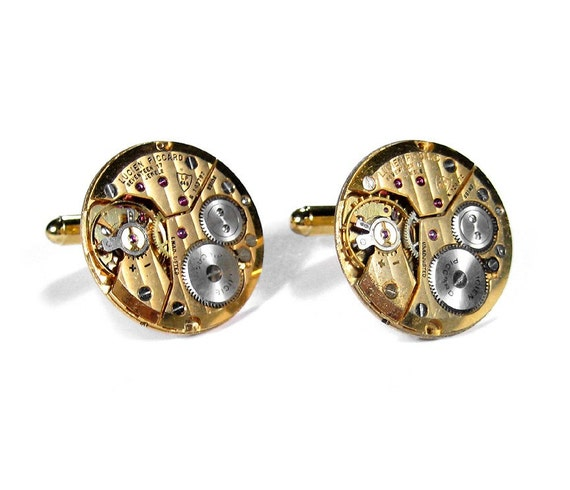 Mens Cufflinks RARE LUCIEN PICCARD Gold Pinstriped Ruby Round Watch Mens Cuff Links Wedding Groom STUNNiNG - Steampunk Jewelry by edmdesigns